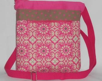 Pink and Brown Print Crossbody Bag