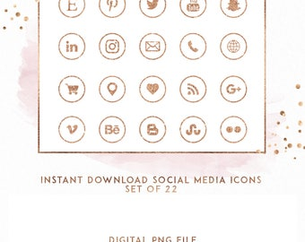 Rose Gold and Blush Circle Instant Download Social Media Icons, ( ICON3 )