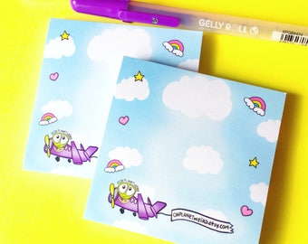 On Planet Weird cloudy skies sticky note pad