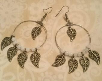 Leaves and Crystal hoop earrings