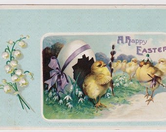 Antique postcard Easter Chicks with Egg Home and Pussy Willows UNUSED