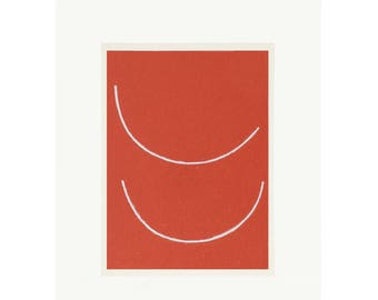 small red minimal screenprint. Handmade abstract art by Emma Lawrenson