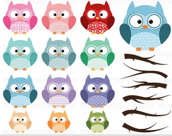 Owls Clipart Vector Owls Clip Art Birds Branches Scrapbooking Digital Wedding Baby Boy Girl Prom Teachers Invitations Card Making