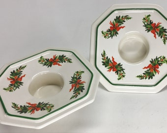 Pair of Vintage Pfaltzgraff Christmas Heritage Wreath Ribbon Octagon Tealight or Votive Candle Holders