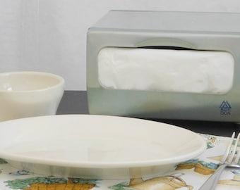 Vintage Silver Napkin Dispenser Holder, SCA Paper Tissue, Mid Century Tabletop Napkin Dispenser, Countertop, Kitchen, Cafeteria, Dining Hall