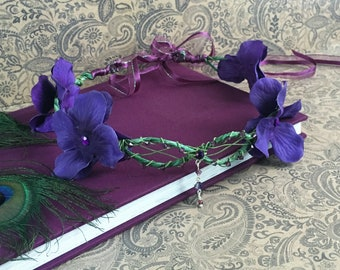 purple faerie flower crown - flower circlet, elven headpiece, floral halo, festival flower wreath, hydrangea flower crown, bohemian bride