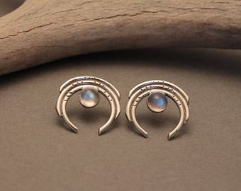 Crescent post earrings in sterling or bronze with Moonstone + Labradorite- Eclipse geometric circle stud earrings