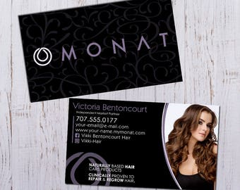Monat Business Cards - Personalized Picture with Purple Pattern - Durable 16pt - Rich Matte Finish -PRINTED and SHIPPED directly to YOU!