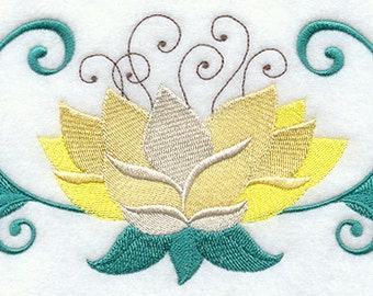 Lotus Flower Embroidered Flour Sack Hand/Dish Towel