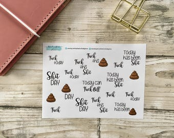 Sweary F#ck, Sh%t Day Stickers for yoir planner