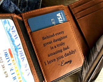 Personalized gift for dad • RFID trifold wallet • Father's Day gift from daughter • Fathers day gifts• Black/Toffee** 7133