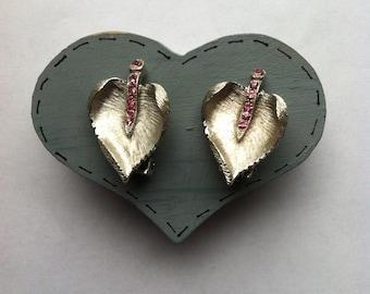 Silver and Pink Rhinestone Heart Shaped Leaf Earrings, Vintage Leaf Earrings, Heart Earrings, Silver Heart Earrings, Pink Heart Earrings