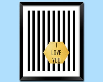 I Love You, Art Print Love, Printable Art Love, Nursery Wall Art Love, Digital Print Love, Gold Art Love, Typography Art, Home Art | M0039