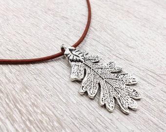 Oak Leaf Leather Necklace, Ranger's Apprentice Inspire Oak Leaf Necklace, Woodland Oak Leaf Necklace, Silver Leaf Necklace