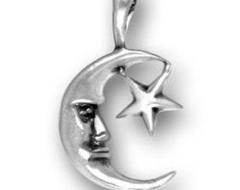 Sterling Silver Moon with Star Charm Man in the Moon Silver Charm