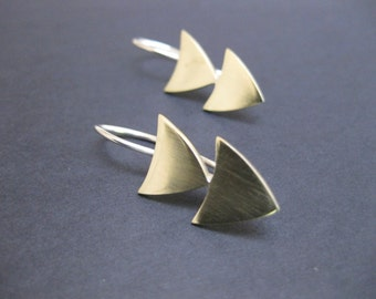 Arrow Head Drop Earrings - Sterling Silver or Brass