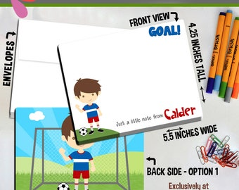 Soccer Player Note Cards - Set of Personalized Note Cards - Double-Sided Thank you Cards - Children Stationery - Kids Sports Notecards
