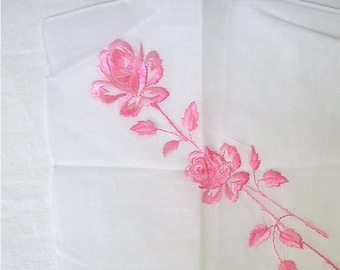 New Swiss Hankie with Pink Rose Embroidery Unused Vintage Handkerchief with Label