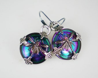 Dragonfly Earrings, Button Earrings, Teal Violet Earrings, Insect Jewelry, Czech Glass Buttons, Dragonfly Jewelry, Dragonfly Gift