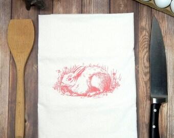 Bunny Flour Sack Tea Towel - Rabbit, Hare Towel