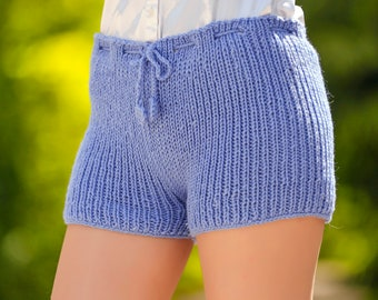 Light blue wool shorts made to order by SuperTanya