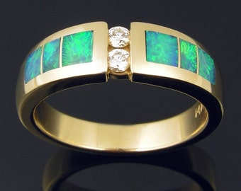 Australian opal inlay ring in 14k gold with diamonds