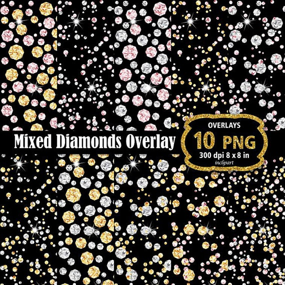 Mix Diamond overlay clipart. Gold silver rose rhinestones