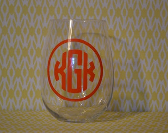 Monogrammed Stemless Wine Glass