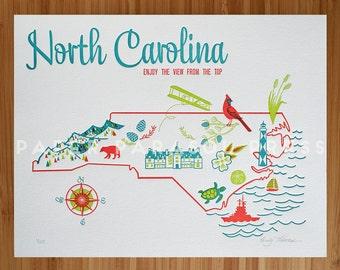 North Carolina State Letterpress Print 8x10 SALE