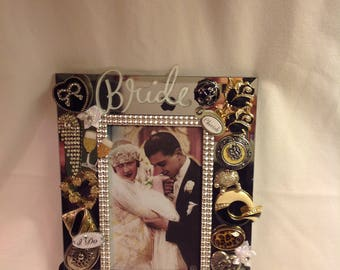 A Georgous 7x9 Mirrored Jeweled Wedding Picture Frame! It's the Perfect Gift so Unique!
