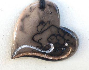 Horse Hair Raku Heart Pendant with Swarovski Crystal