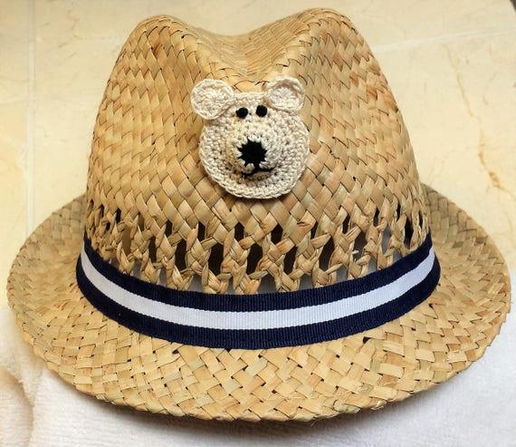 Boys Infant Toddler Tan Straw Fedora Hat Cap Handmade 830cedf5095a