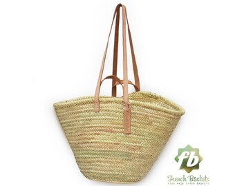 straw bag  French Basket  Moroccan Basket french market basket  Beach Bag - french baskets Natural Basket Flat Leather clear Handle Double