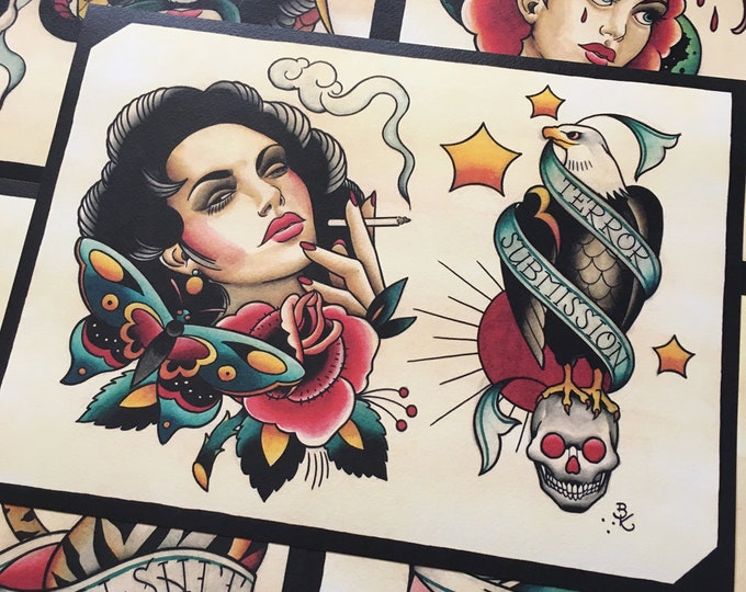 Tattoo Flash Set 21 by Brian Kelly. 6 Sheets.