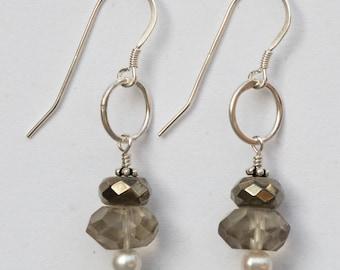 Smoky Quartz & Pyrite Earrings