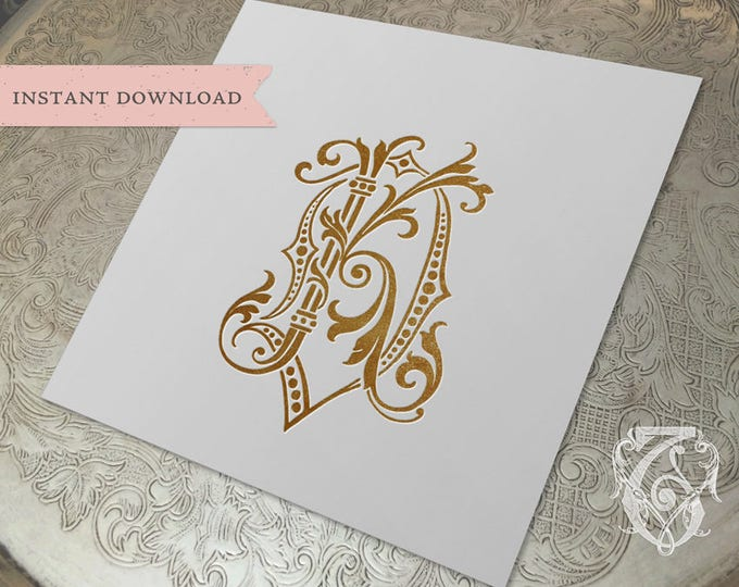 Vintage Wedding Monogram DK KD Digital Download K D