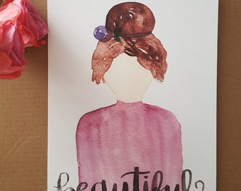 Beautiful Daughter - Brunette Hair - Art Print - Watercolor Painting - Child of God - Identity in Christ - Daughter of the King - Galatians