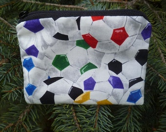 Soccer coin purse, stitch marker pouch, gift card pouch, colorful soccer balls, credit card case-Raven