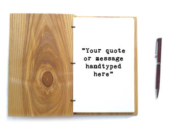 Hand Typed Quote Journal Quote Typewriter quote Handtyped Quote Notebook Quote Custom Journal Personalized Journal Custom Notebook