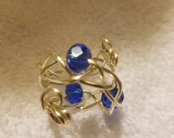 Silver and blue wire wrapped ring