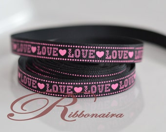 """LOVE  Hearts grosgrain ribbon size 3/8"""" 1 OR 5 yards  hair clips GR9mm-007 accessories , decoration"""