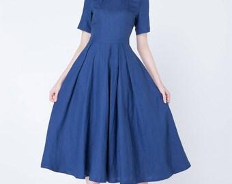 linen dress, blue dress, summer dress, pleated dress, elegant dress, mid calf dress, womens dresses, handmade dress, pockets dress 1721