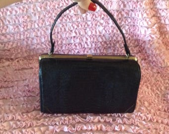 Vintage Iguana Aligator Lizard black Handbag Purse