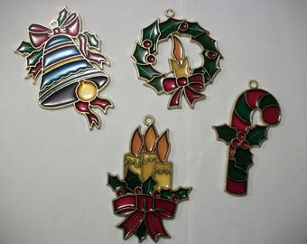 Vintage 4 pc set  Faux Stained Glass Plastic Sun Catcher Suncatcher Ornament Xmas Christmas Holiday Window Kitsch Candy Cane