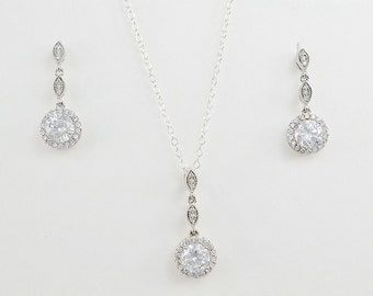 Bridal Cubic Zirconia Jewelry Set, Necklace Earrings, Sterling Silver Chain, Rose Gold Filled Chain, Nicole Set - Ships in 1-3 Business Days