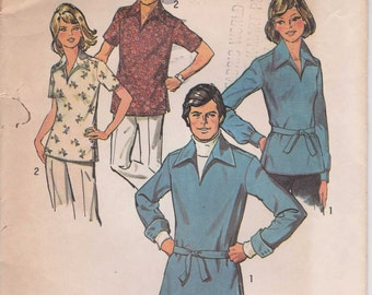 CLEARANCE Vintage Shirt Pattern Pullover Long Collar Uncut 1974 Size 12  Simplicity 6436