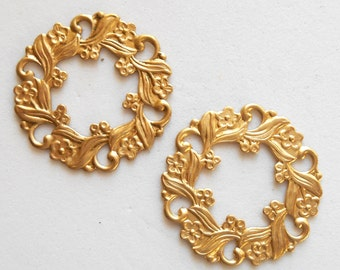 2 raw brass floral wreath stampings, charms, pendants, connectors, rings, ornaments, 26mm, made in the USA C2501