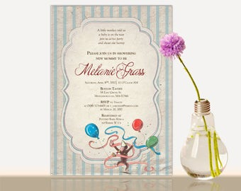 Curious george card etsy curious george baby shower invitation filmwisefo