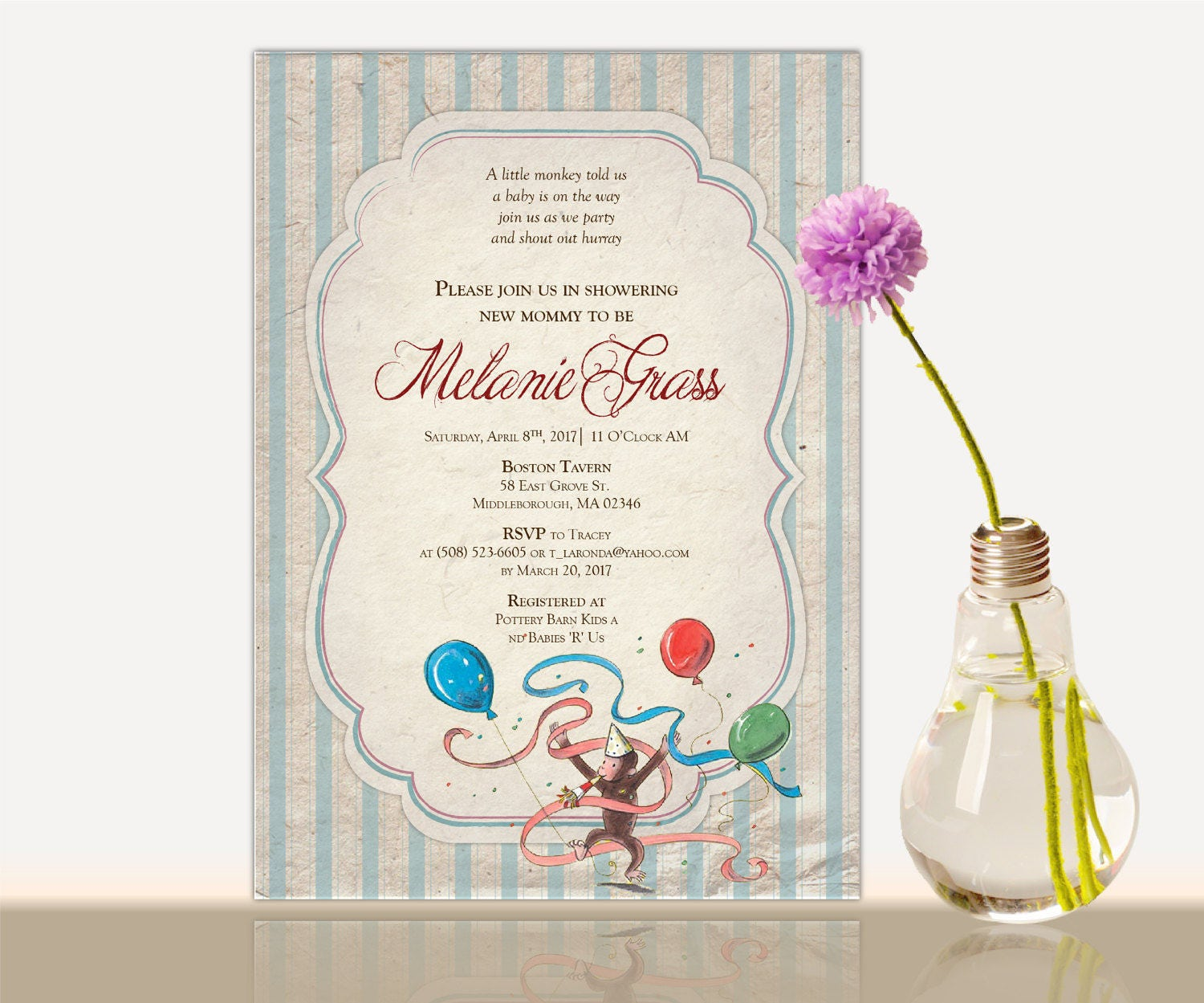 Curious george baby shower invitation curious george bridal zoom filmwisefo