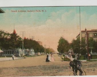Vintage Postcard, Asbury Park, New Jersey, Grand Avenue, Bicycle, 1911